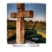 Setting Sun On A Cross By The Trenches Shower Curtain