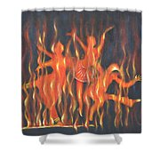 Setting The Stage On Fire Shower Curtain