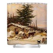Settler's Log House Shower Curtain