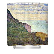 Seurat's Seascape At Port Bessin In Normandy Shower Curtain