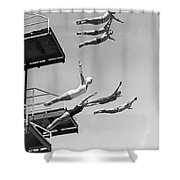 Seven Champion Diving In La Shower Curtain