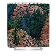 Seven Falls Mountain's Colorado Shower Curtain by Robert D  Brozek