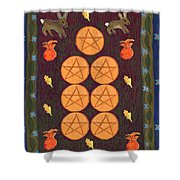 Seven Of Pentacles Shower Curtain