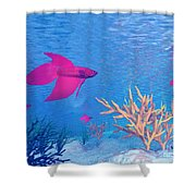 Several Red Betta Fish Swimming Shower Curtain
