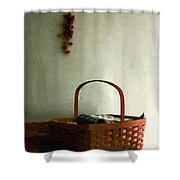 Sewing Basket In Sunlight Shower Curtain