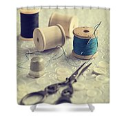 Sewing Cotton Shower Curtain by Amanda Elwell