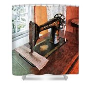Sewing Machine Near Lace Curtain Shower Curtain