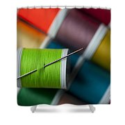 Sewing Needle With Bright Colored Spools Shower Curtain