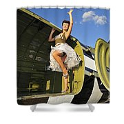Sexy 1940s Style Pin-up Girl Standing Shower Curtain by Christian Kieffer