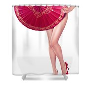 Sexy Asian Woman With Red Oriental Umbrella Shower Curtain