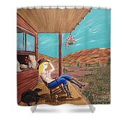 Sexy Cowgirl Sitting On A Chair At High Noon Shower Curtain
