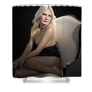 Sexy Fine Art Blond Girl In Chair 1285.02 Shower Curtain