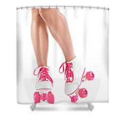 Sexy Girl Legs In White Pink Roller Skates Shower Curtain