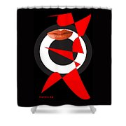 Sexy Lips Black  Red White Black Expressions  Shower Curtain