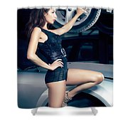 Sexy Mechanic Girl Posing With Cars Shower Curtain