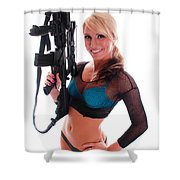 Sexy Woman Holding An Ar15 Shower Curtain