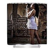 Sexy Woman In Church Shower Curtain