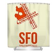 Sfo San Francisco Airport Poster 1 Shower Curtain by Naxart Studio