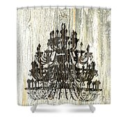 Shabby Chic Rustic Black Chandelier On White Washed Wood Shower Curtain