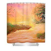 Shack In The Bayou At Dawn Shower Curtain