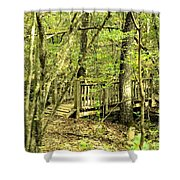 Shades Mountain Bridge In The Forest Shower Curtain