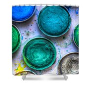 Shades Of Green Watercolor Shower Curtain