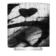 Shadow Heart Graphite Drawing Shower Curtain
