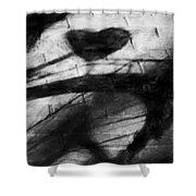 Shadow Heart Rough Charcoal Shower Curtain