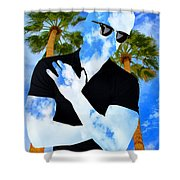 Shadow Man Palm Springs Shower Curtain