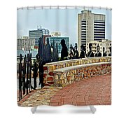 Shadow Representations Of People Coming To The Port In Donkin Reserve In Port Elizabeth-south Africa   Shower Curtain