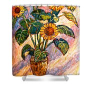 Shadows On Sunflowers Shower Curtain