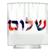 Shalom 7 - Jewish Hebrew Peace Letters Shower Curtain
