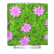 Shamrock Paper Cutting Clover Flowers Background Shower Curtain