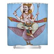 Lord Shani Riding Bird Shower Curtain
