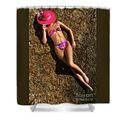 Shannon Pink Hat Shower Curtain