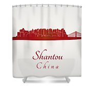 Shantou Skyline In Red Shower Curtain