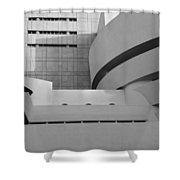 Shapes Of The Guggenheim In Black And White Shower Curtain