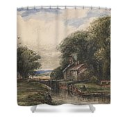 Shardlow Lock With The Lock Keepers Cottage Shower Curtain by James Orrock