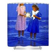 Sharing A Sparkler  Shower Curtain