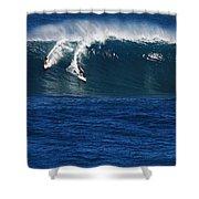 Sharing A Wave In Waimea Bay Shower Curtain
