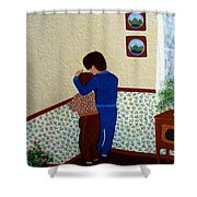 Sharing The Punishment Shower Curtain by Barbara Griffin