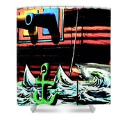 Shark And Pirate Ship Pop Art Posterized Photo Shower Curtain