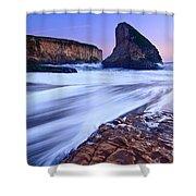 Shark Fin Tide - Santa Cruz California Shower Curtain by Jamie Pham