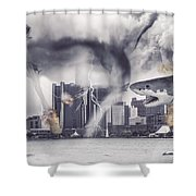 Sharknado Detroit Shower Curtain