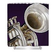 Sharp Silver Trumpet Shower Curtain
