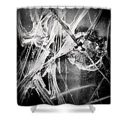 Shatter - Black And White Shower Curtain