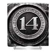 Shay 14 Lima Locomotive Number Plate Shower Curtain by Ken Smith