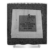 Shea Stadium First Base In Black And White Shower Curtain