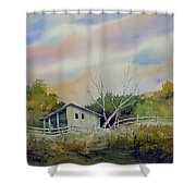 Shed With A Rail Fence Shower Curtain