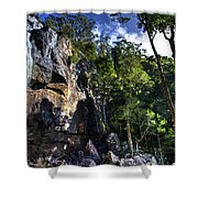 Sheer Cliff With Waterfall Shower Curtain
